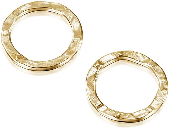 Stera Jewelry 14k Gold-Filled 7 mm Hand Hammered Hoops Rings or Loops Jewelry Findings for Your DIY Earrings Necklaces & Bracelets Creations, 6 Pcs