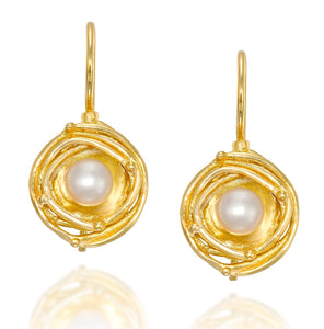 Gold Pearl Earrings with Swirl Design & Secure Backs Wedding Jewelry