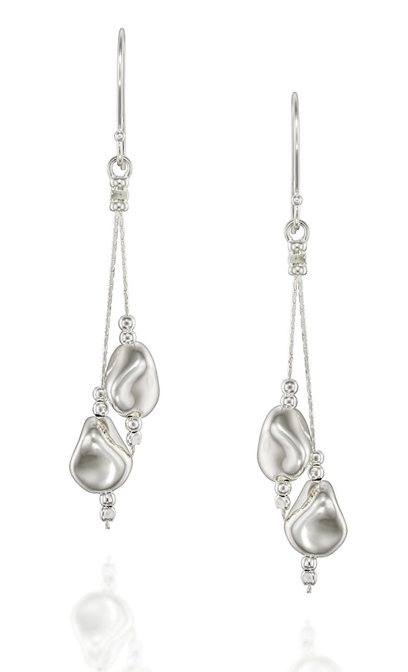 Elegant 925 Sterling Silver Free Form Beads Dangle Earrings with French Wire Hooks