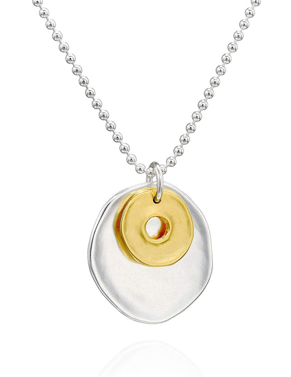 Two-Tone Sterling Silver & 14k Gold Plated Free Form Circles Pendant and 1.5mm Beads Chain Necklace, 24