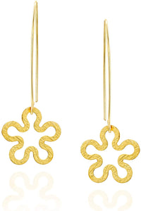 Stera Jewelry 14k Gold-Filled Flower Shaped Dangling Long Wire Threader Earrings for Women and Teens