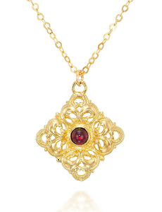 "Vintage Style Filigree Diamond Pendant Gold Necklace, 18""+4"" Extender"