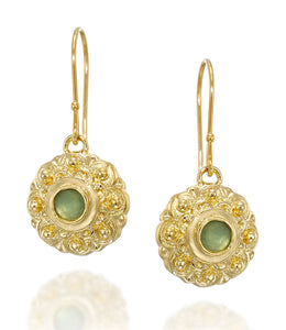 Flower Earrings with Green Quartz in 14k Gold Plated Sterling Silver