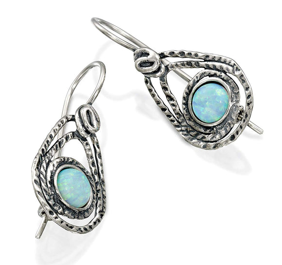 Teardrop 925 Sterling Silver Earrings with Created White Opal and Secure Backs Unique Women's Jewelry