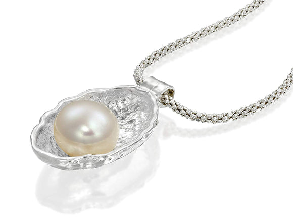 Seashell Pendant with 10mm Cultured Pearl 925 Sterling Silver Necklace Bridal Jewelry, 18