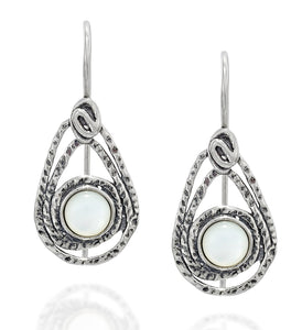 Teardrop Earrings in 925 Sterling Silver and Mother of Pearl with Secure Backs Elegant Women's Jewelry