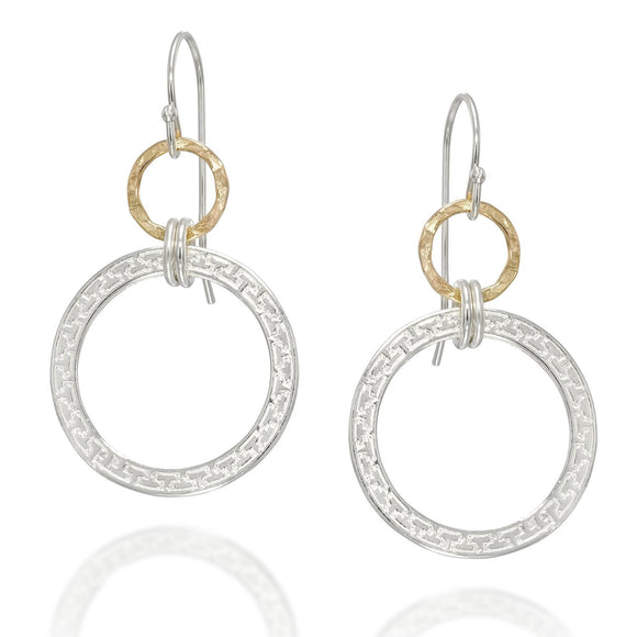 Fashionable Sterling Silver & 14k Gold Filled Circles Dangle Earrings
