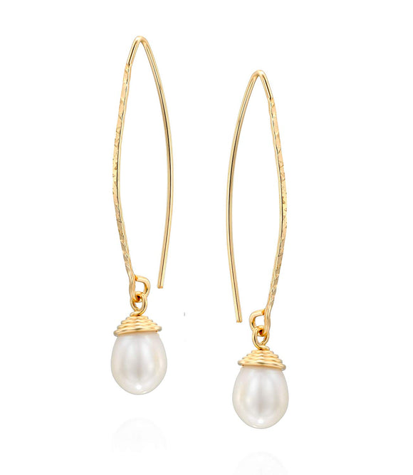 Stera Jewelry 14k Gold-Filled Long Wire Threader Earrings with Hand Wrapped Teardrop Cultured Pearls