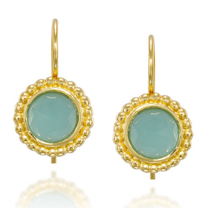 14k Gold Plated 8 mm Faceted Aqua Quartz Earrings with Secure Backs