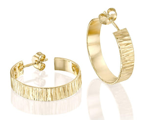Classic 14k Gold Filled Wide Hoop Earrings with Post & Butterfly Backs