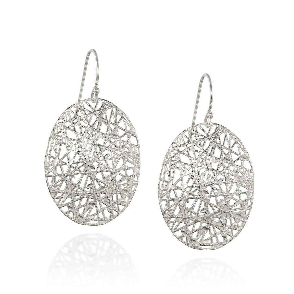 Impressive 925 Sterling Silver Oval Dangle Earrings with Intricate Free Form Design & French Wire Hooks