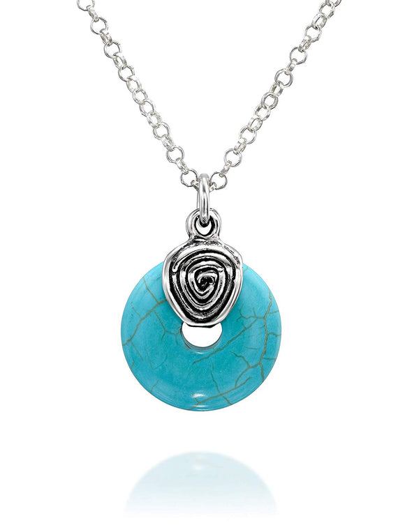 "Wheel Shaped Compressed Turquoise Pendant 925 Sterling Silver Necklace, 18"" + 4"" Extender"