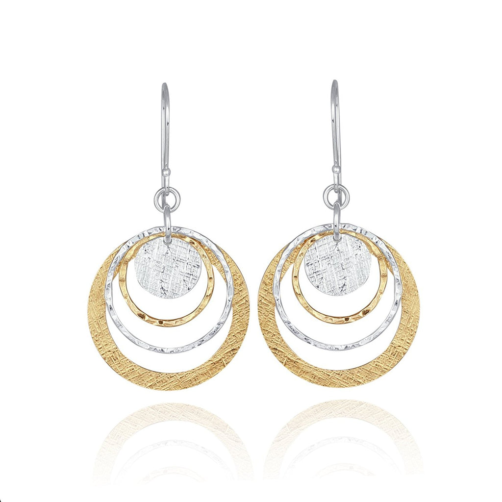 Women's Two Tone Silver & Gold Graduated Circles Dangle Earrings