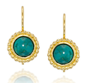 Women's 14k Gold Plated 8 mm Turquoise Earrings with Secure Backs