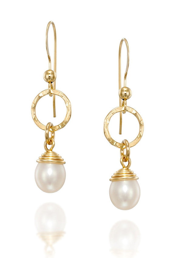 Handmade Gold Pearl Earrings Bridal Wedding Jewelry Bridesmaid Gifts