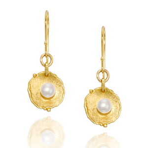 Bridal Wedding Jewelry Antique Style 14k Gold Plated Pearl Earrings