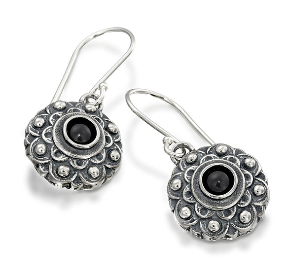 Antique Style Choice of Gemstone Flower Dangle Earrings in 925 Sterling Silver Elegant Women's Jewelry