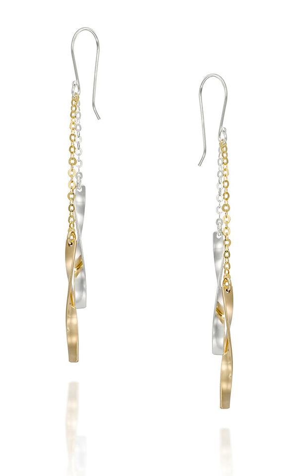 Silver & Gold Twisted Long Dangling Earrings Handmade Women's Jewelry