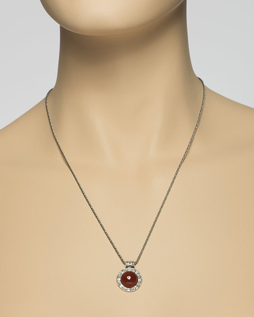 Choice of Gemstone Onyx, Carnelian, Green Agate or Mother of Pearl Pendant Necklace, 20""