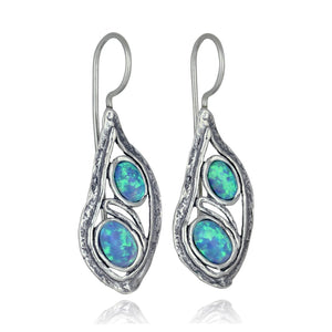 Sterling Silver Teardrop Earrings with Two Created Blue Fire Opal Elegant Free Form Unique Artisan Design