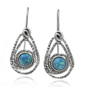 925 Sterling Silver Created Blue Fire Opal Teardrop Earrings with Secure Wire and Hook Backs