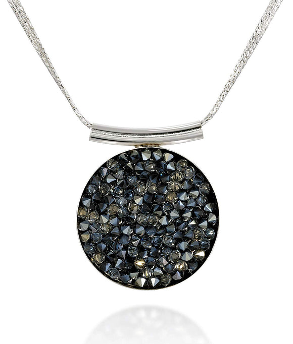 Pavé Crystal Rock Cluster Pendant Sterling Silver Necklace Made with Swarovski Crystals, 18