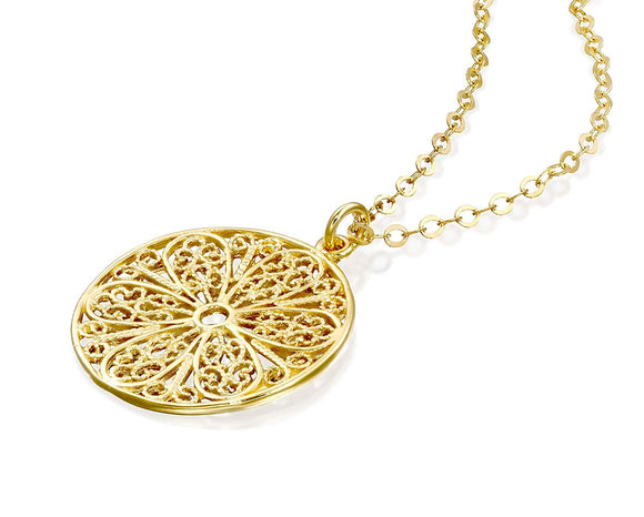 Ornate Round Filigree Gold Pendant Necklace for Women, 18