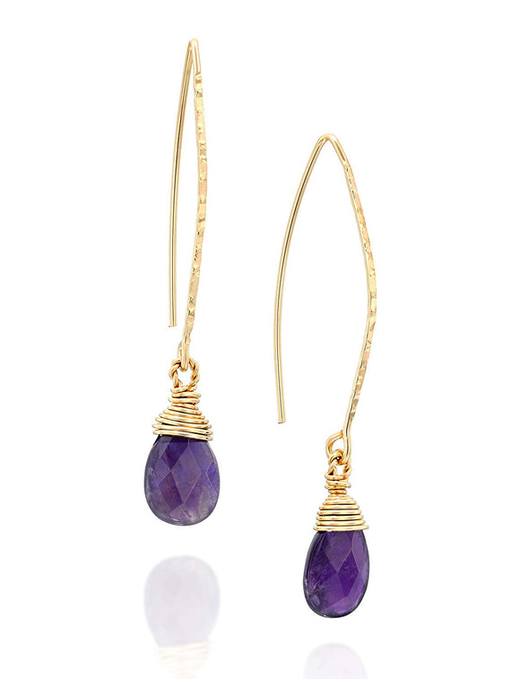 Hand wrapped Amethyst Earring 14k Gold-Filled Dangling Long Wire Threader Earrings Unique Women's Jewelry