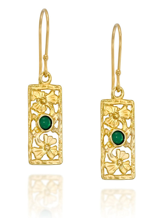 Retro Green Agate Gold Rectangle Earrings with Decorative Floral Design