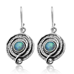 Created Opal 925 Sterling Silver Swirl Dangle Earrings with Decorative Spiral Design