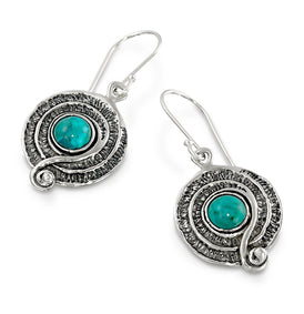 Vintage Style 925 Sterling Silver Turquoise Dangle Earrings with Decorative Spiral or Swirl Design