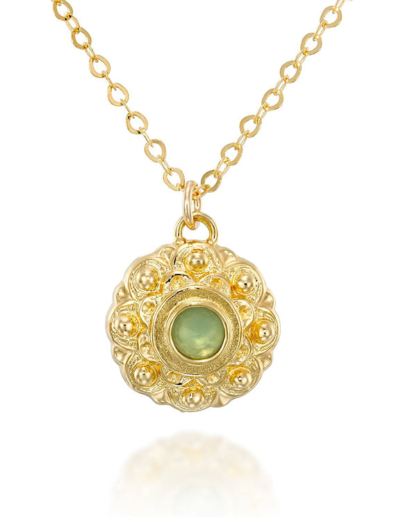 Light Green Quartz Flower Pendant Necklace Gold Plated Silver, 18