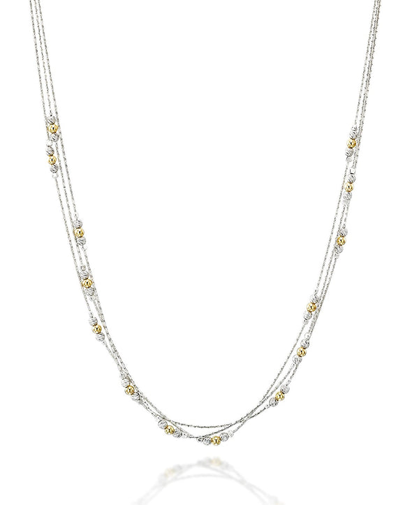 Women's Triple Strand Silver & Gold Beads Necklace, 18