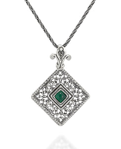 Choice of Gemstone Green Agate or Carnelian Silver Filigree Diamond Pendant Necklace, 20""