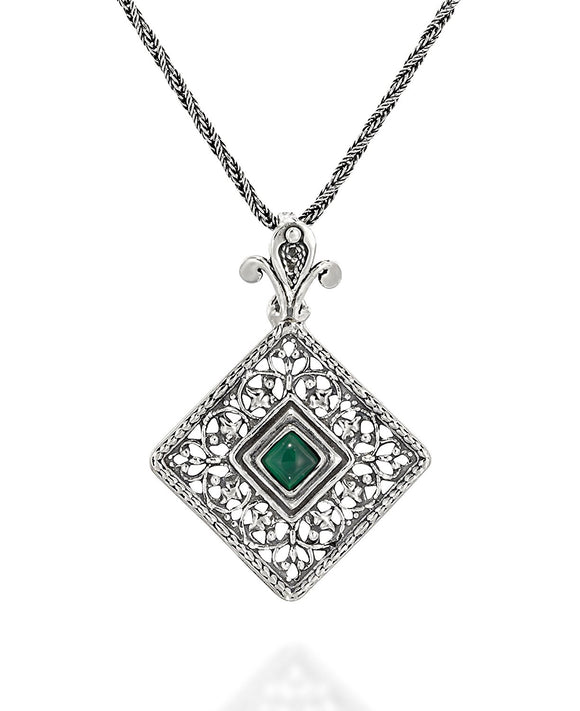 Choice of Gemstone Green Agate or Carnelian Silver Filigree Diamond Pendant Necklace, 20