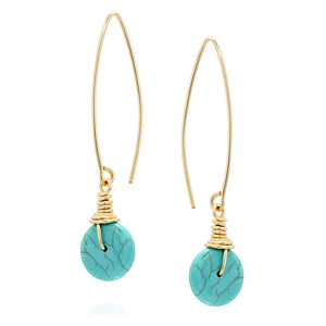 Stera Jewelry Women's 14k Gold-Filled Compressed Turquoise Dangling Long Wire Threader Earrings