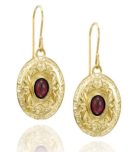 Antique Style Floral Design 14k Gold Plated Silver Oval Earrings with Genuine Garnet Gemstones Unique Women's Jewelry