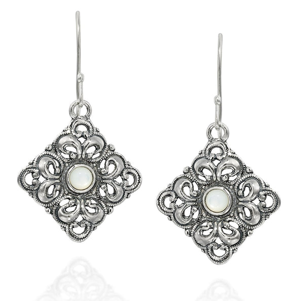 Choice of Gemstone 925 Sterling Silver Filigree Diamond Shaped Dangle Earrings Unique Women's Jewelry