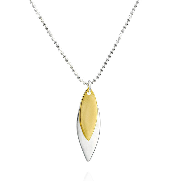 925 Silver & Gold Matte Finish Marquise Charms with 1.5 mm Beads Chain Necklace, 20