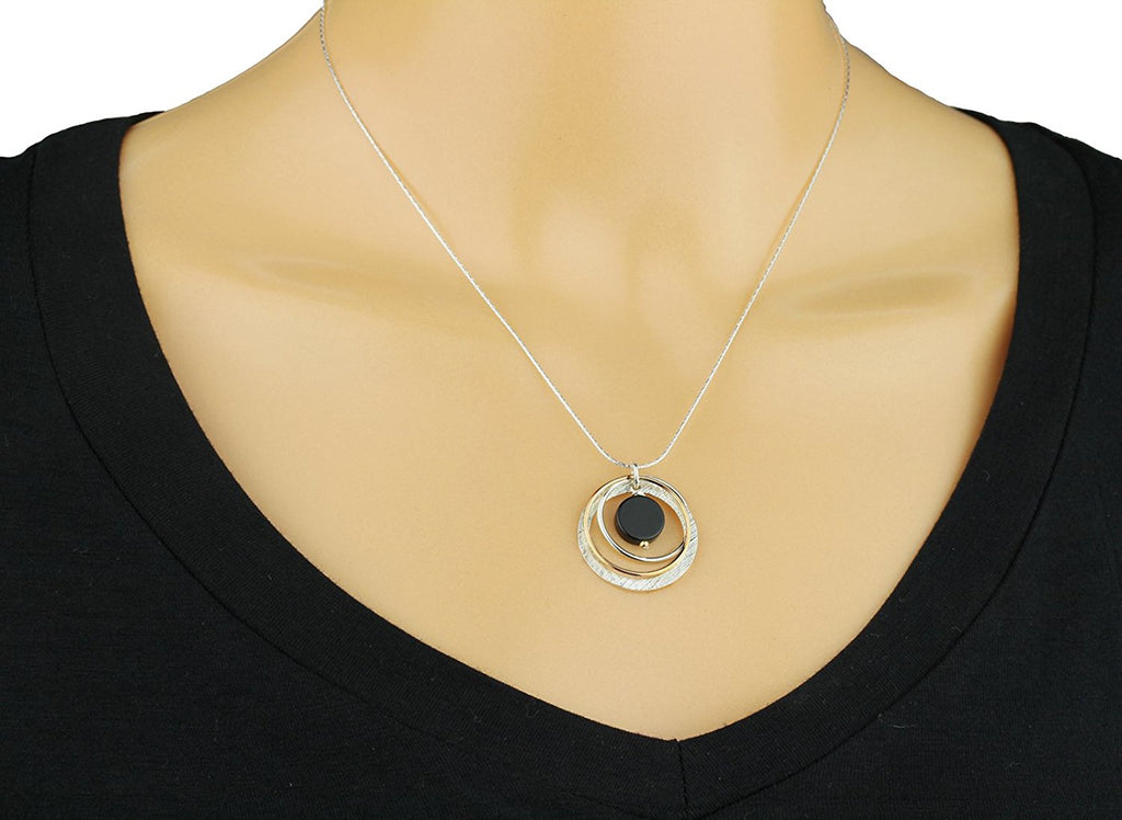 "Two Tone Black Onyx Multi Hoops Pendant Necklace, 18"" + 4"" Extender"