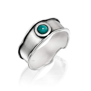 Stera Jewelry Unique Design 925 Sterling Silver Turquoise Band Ring for Women, Size 8