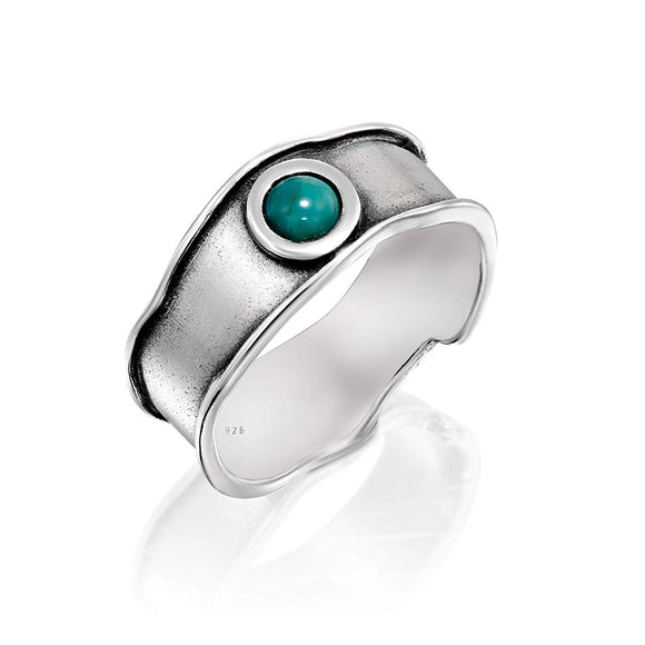 925 Sterling Silver Turquoise Band Ring for Women, Size 8