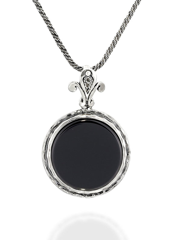 Silver 18 mm Black Onyx Pendant Necklace, 20