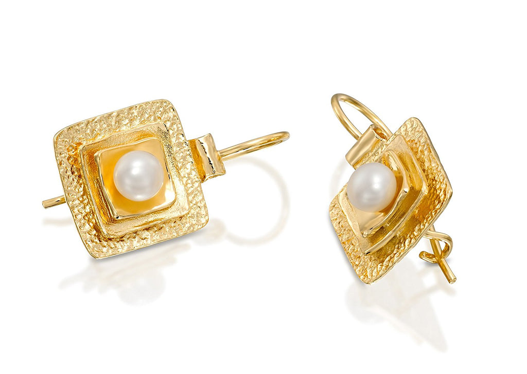 Exquisite Bridal Wedding Jewelry Gold Square Shaped Pearl Earrings