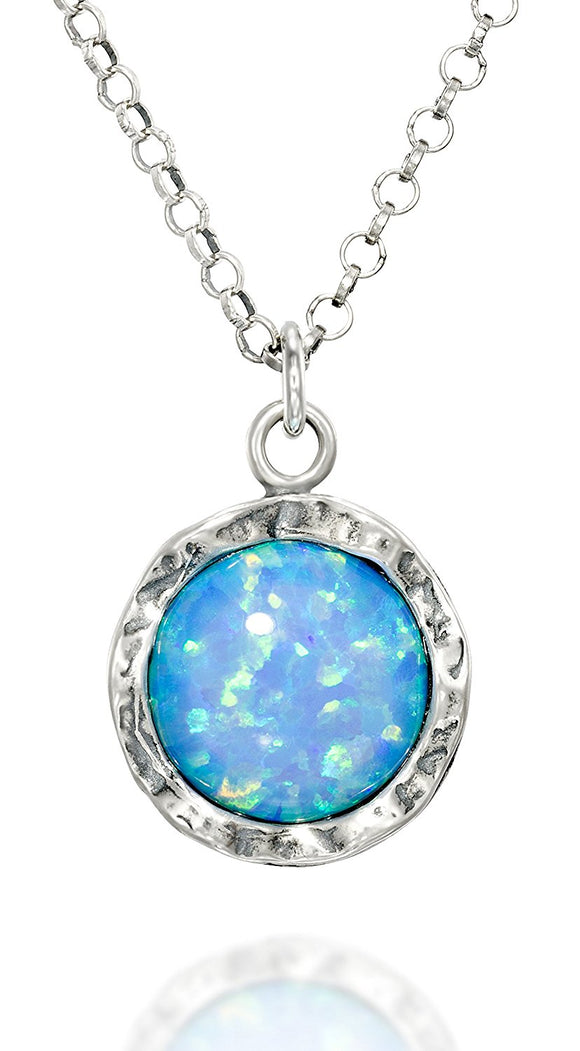 925 Sterling Silver 10mm Blue Fire Opal Round Pendant Necklace, 18