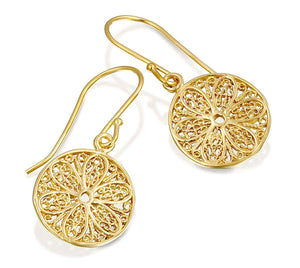 Antique Style Round Dangle Earrings with Ornate Filigree Design 14k Gold Plated Silver Women's Jewelry
