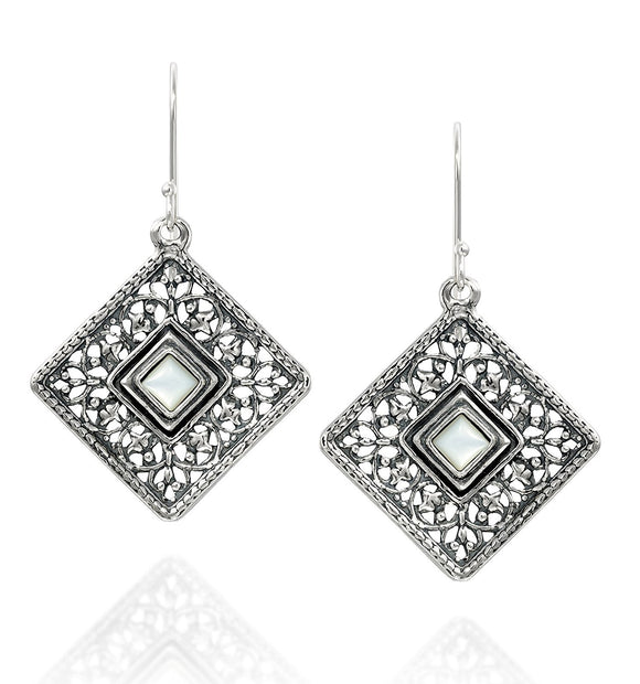 Choice of Gemstone 925 Sterling Silver Filigree Diamond Earrings