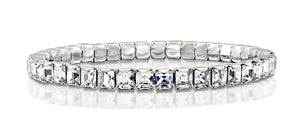 Made by Swarovski Square Crystals Rhodium Plated Stretch Tennis Bracelet, 7""