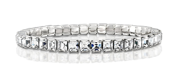Made by Swarovski Square Crystals Rhodium Plated Stretch Tennis Bracelet, 7