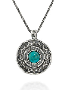 Large 925 Sterling Silver Round Turquoise Pendant Necklace, 20""